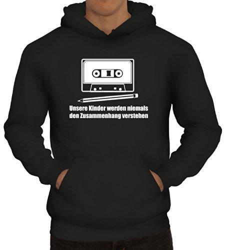 Shirtstreet24, Bleistift - Kassette, Herren Kapuzen Sweatshirt - Pullover Hoodie, Größe: M,Schwarz