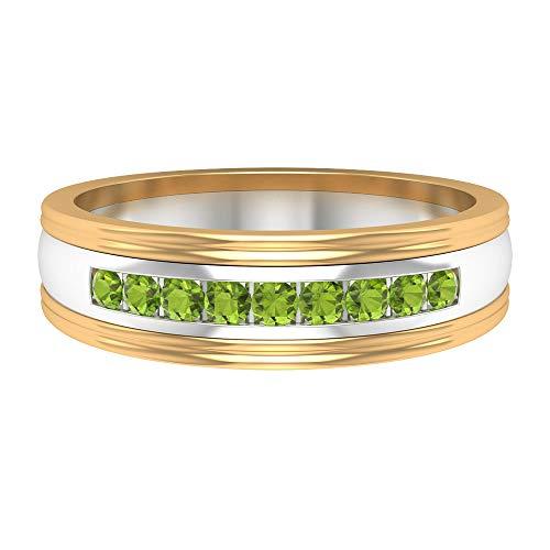 Rosec Jewels 14 quilates oro amarillo redonda Green Peridot