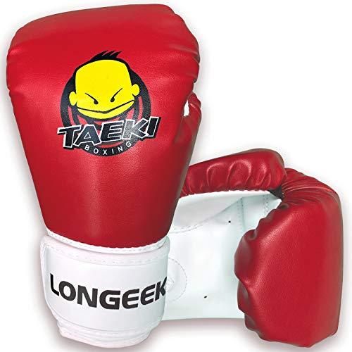 longeek Kinder-Boxhandschuhe, 113 g, Cartoon-Training, Sparring, Boxsack, Handschuhe für Kinder im Alter von 3 bis 12 Jahren, Rot