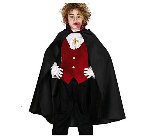 Guirca Capa negra con cuello rojo alto para nios, para disfraz de vampiro, longitud 90 cm