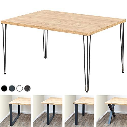 LAMO Manufaktur Schreibtisch Computertisch Tisch Esstisch 138x100x76 cm (LxBxH), Spanplatte/Creative, Eiche Gold/Schwarz