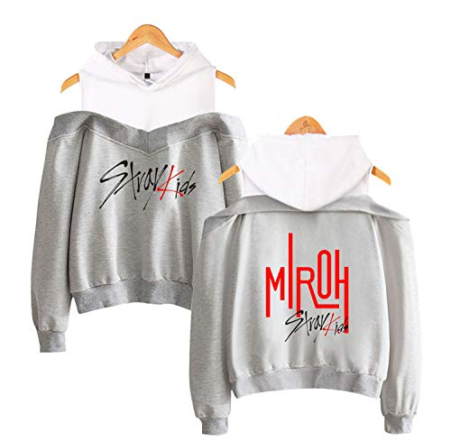 Xkpopfans Kpop Stray Kids Hoodie MIROH Off The Shoulder Pullover Woojin Felix Minho Sweater XS Gray