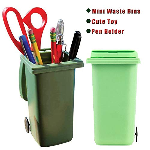Office Supplies Creative Trash and Recycle Can Set, Tall Desktop Organizer, Pencil Holder for Desk(2PCS)