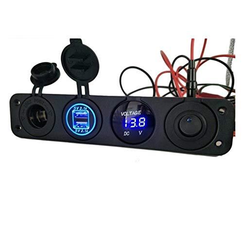 RJJX 4 en 1 Coche Cigarro Encendedor Voltímetro Digital Doble USB Cargador de alimentación 12V Toma de Corriente a Prueba de Agua a Prueba de Agua con Interruptor de balancín (Color Name : Blue)