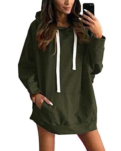 YOINS Sweatshirt Damen Langer Kapuzenpullover Langarm Hoodie Pullover mit Tasche Pulli Kleider Strickjacke Lange Tops Mantel Kurz-Army Green M