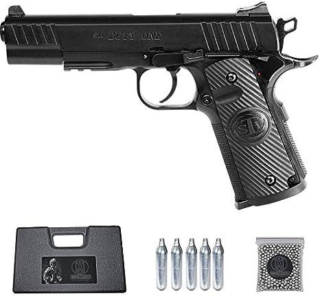Ecommur. STI Duty One-ASG | Pistola de perdigones (Bolas BB's de Acero) de Aire comprimido semiautomática 4,5mm + maletín + balines y CO2