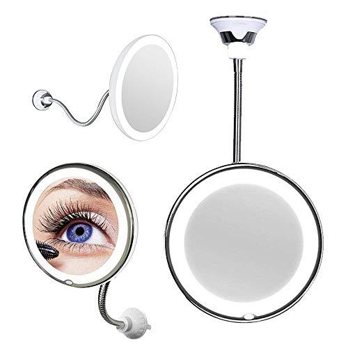 Espelho Luz Led 360 Flexível Aumento 10x Maquiagem Barba Depilaçao Ventosa