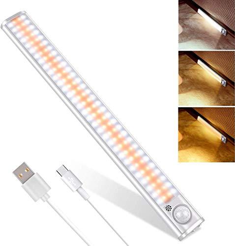 Luces LED con Sensor de Movimiento, 2 Piezas Luz Armario 160 LED con Tira Magnética, Recargable Luz LED Adhesiva, Luz para Armarios/ Cocina/ Escalera/ Garaje/ Pasillo/ Emergencias (1x160LED)