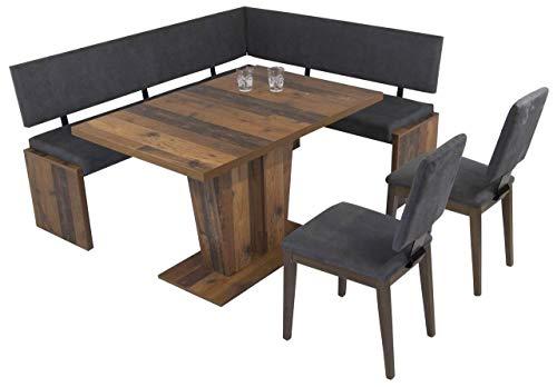 MSZ Design Eckbank Eckbankgruppe Essgruppe Milano 180 x 150 cm Old Wood Vintage