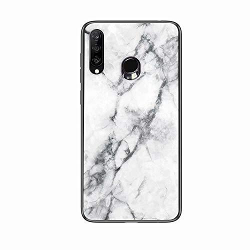 Miagon Glas Handyhülle für Huawei P Smart 2019,Marmor Serie 9H Panzerglas Rückseite mit Weicher Silikon Rahmen Kratzresistent Bumper Hülle für Huawei P Smart 2019,Weiß