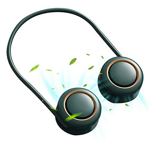 Ventilador de banda para el cuello, portátil, mini USB, manos libres, deportes, recargable, 3 velocidades, rotación de 360 grados, ajustable para oficina, viajes al aire libre (verde)