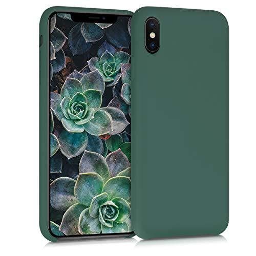 kwmobile Hülle kompatibel mit Apple iPhone XS Max - Hülle Silikon gummiert - Handyhülle - Handy Hülle in Tannengrün
