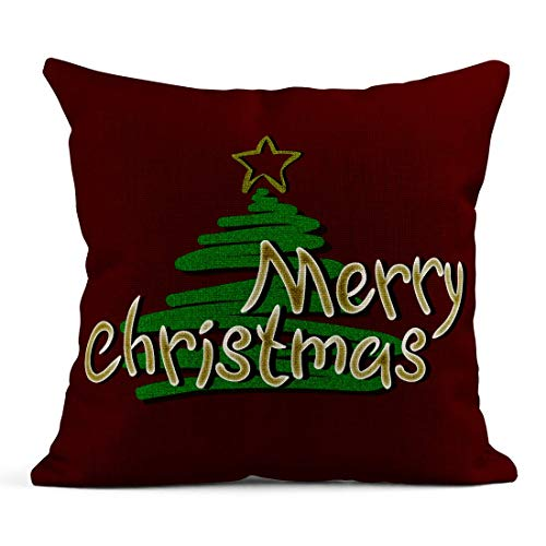 Kinhevao Throw Pillow Silver Black Gold Lettering Phrase Merry Christmas in Hoar Frost The Red Star and Сhristmas Tree Brilliant Linen Cushion Home Decorative Pillow
