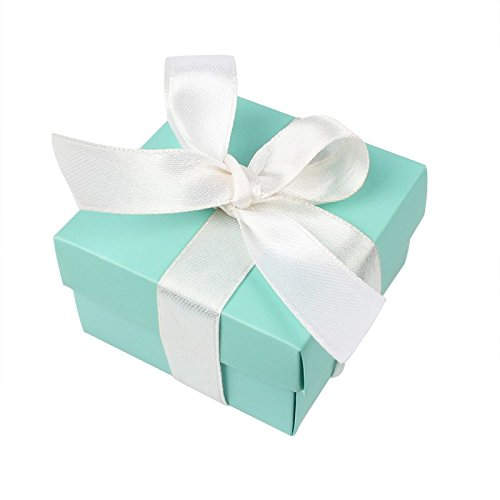 a54a371444 AerWo 10pcs Party Wedding Favors Bag + 10pcs Silk Ribbon, Mini Small Square  Turquoise Candy