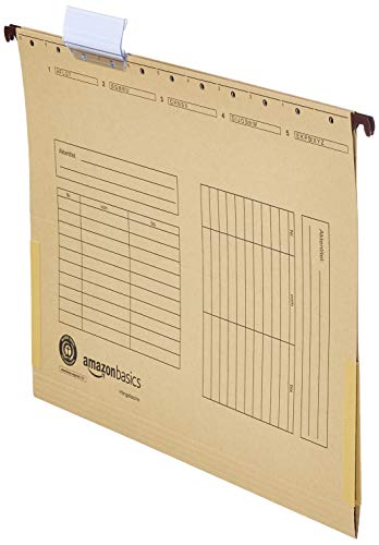 AmazonBasics - Carpetas colgantes, de Manila reciclada, Estilo de bolsillo, escudete de lino, 230 g/m2, paquete de 25, marrón