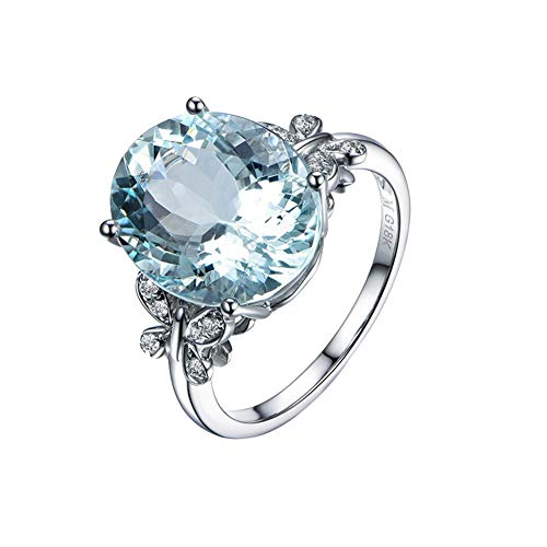 Qinlee Luxury Oval Topaz Ring Silver Genuine Sky Blue Natural Topaz Women Jewelry Butterfly Female Ring