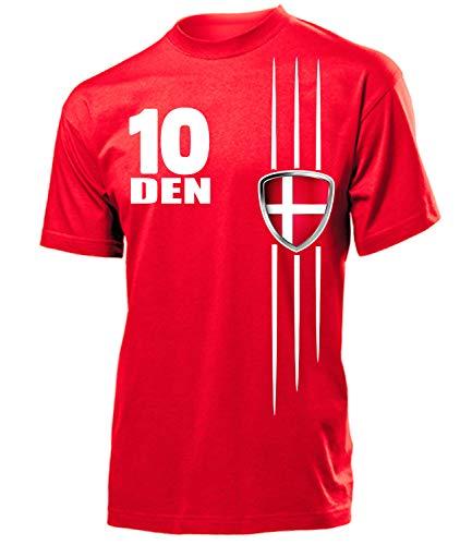 Dänemark Denmark Danmark Fan t Shirt Artikel 3219 Fuss Ball EM 2020 WM 2022 Team Trikot Look Flagge Fahne trøje World Cup Männer Herren Jungen S