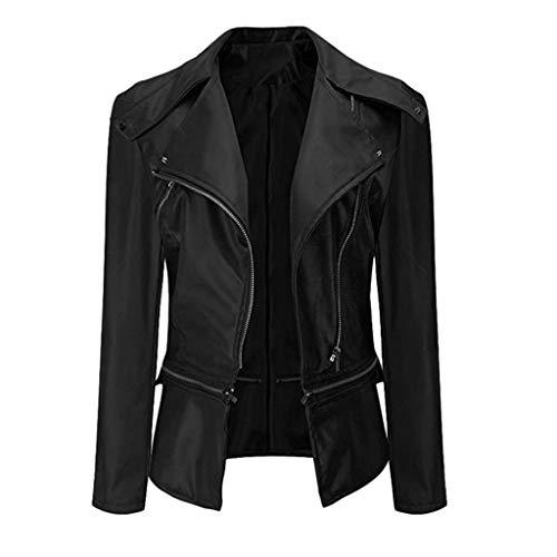 New Women's Moto Jacket Zip Up Bomber Motorcycle Leather Waterproof Jacket Lapel Black Biker Jacket ...