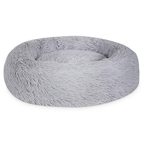Plush Donut Pet Bed,Dog Cat Round Warm Cuddler Kennel Soft Puppy Sofa, Cat Cushion Bed Sleeping Bag Orthopedic Relief and Improved Sleep,Anti-Slip Bottom,Machine Washable (XXL-35.5' x 9.8', Grey)