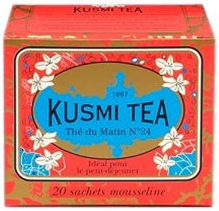 Kusmi Tea - Russian Morning N°24 - Russian Black Tea Blend Made with Chinese and Ceylon Black Tea - All Natural, Premium Loose Leaf Black Tea Blend in 20 Eco-Friendly Muslin Tea Bags (20 Servings)