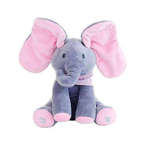 Elefante Peluche De Juguete, Música Juguete De Peluche Para Bebé Elefante, Juego Ocultar Y Buscar Muñeca De Peluche Animada De Felpa Gran Regalo Navidad Para Niños Y Adultos(Versión inglesa)