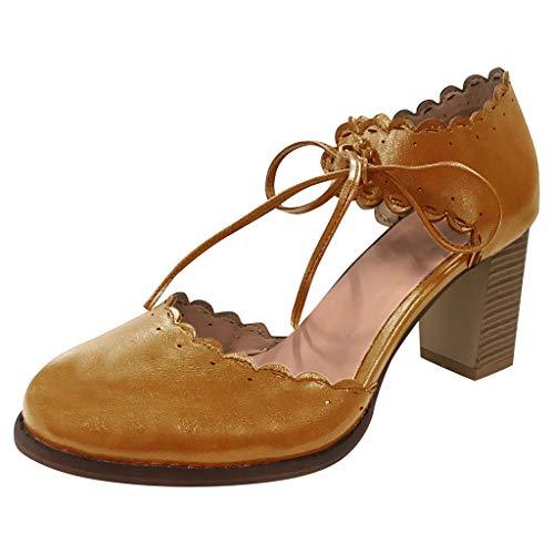 Zapatos de Princesas para niña, Correas del Tobillo de Las Mujeres Sandalias Zapatos de cuña (Amarillo,marrón,Negro,Blanco), 34/35/36/37/38/39/40/41/42/43 EU