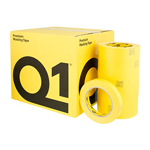 Q1 - 3/4 inch (18mm X 55m) Premium High Performance Automotive Yellow Masking Tape - High Temperature - Case of 48 Rolls