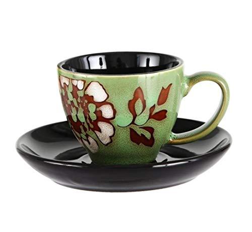 Kreative Tasse 90 ml Espresso Kaffeetasse Untertasse Set Kreative handbemalte Trompete mit kleinem Fassungsvermögen Mini Latte Kaffeetasse Haushaltsgeschirr Set, Multi, 90 ml