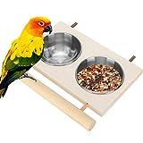 Felenny Cuenco de Alimentación de Loros Comedero de Agua de Acero Inoxidable con Soporte de Madera Comedero de Plato para Pájaros Jaula Accesorio para Periquitos Periquito Cockatiels
