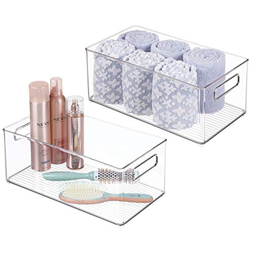 mDesign Deep Plastic Storage Bin Tote with Handles for Organizing Cosmetics Makeup Palettes Body Wash First Aid Vitamins Supplements Hair Styling Accessories 2 Pack - Clear