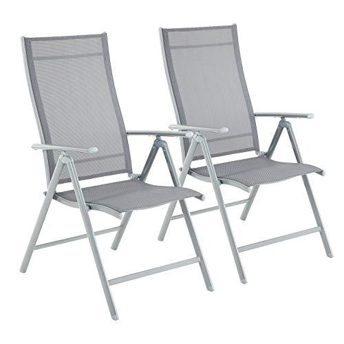 Songmics Tuinstoelen, 2-delige set, klapstoelen, outdoorstoelen met robuust ijzeren frame, rugleuning in 8 standen verstelbaar, tot 150 kg belastbaar grijs