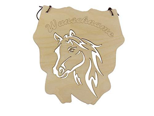 Kreativknoten Aufhänger – Schild/eine ausgefallene individuelle Dekoration mit tollen Schnittmuster Tiermotiv Pferd Personalisiert Wunschnamen