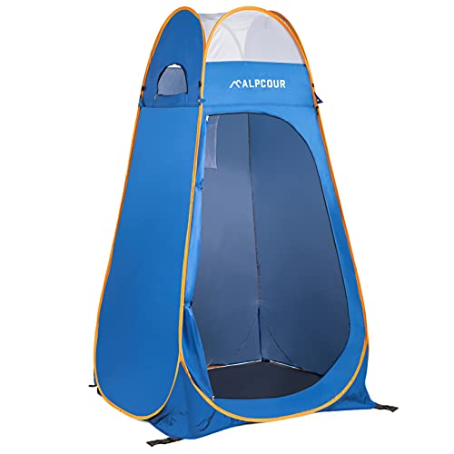 Alpcour Portable Pop Up Tent – Privacy Tent for Portable Toilet, Shower and Changing Room for Camping and Outdoors – Spacious, Extra Tall and Waterproof with Utility Accessories - Sturdy and Easy Fold