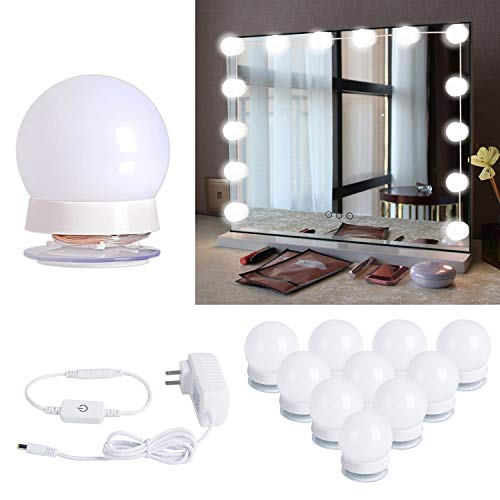 Hollywood Style LED Vanity Mirror Lights Kit with 10 Dimmable Light Bulbs -