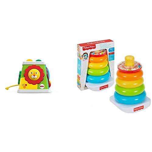 Fisher-Price FYK64 - Safari Entdeckerwürfel mit 5 Spielmöglichkeiten, Baby Spielzeug ab 6 Monaten & Farbring Pyramide bunter Stapelturm Baby Spielzeug und Lernspielzeug zum Sortieren und Stapeln