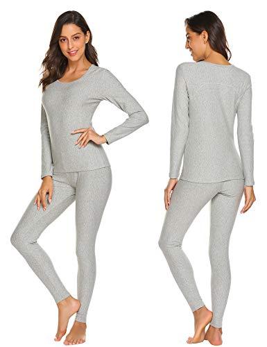 Ekouaer Womens Cotton Thermal Underwear Long Johns Winter Set Fleece Lined,Lgt,XX-Large