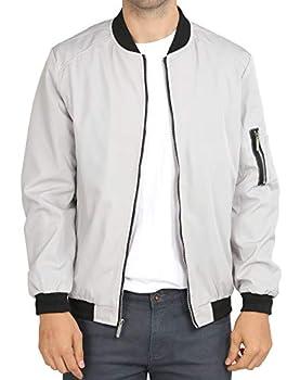 WULFUL Mens Casual Lightweight Jacket Softshell Flight Bomber Jacket Varsity Coat  Light Grey X-Large