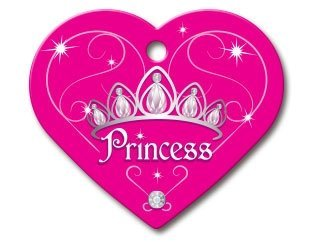 Diva Princess Collection Heart Shape Personalized Custom Engraved Pet ID Tags! (Princess, Large)