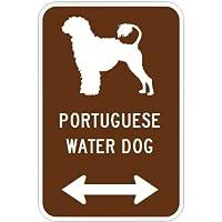 PORTUGUESE WATER DOG マグネットサイン ブラウン:ポーチュギーズウォータードッグ(大) シルエットイラスト&矢印 英語標識デザイン W.