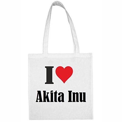 Tasche I Love Akita Inu Größe 38x42 Farbe Weiss Druck Schwarz