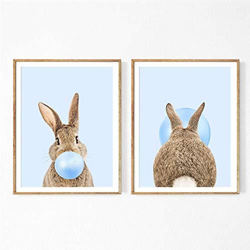 kldfig konijntje kauwgom kunst poster print blauw roze kinderkamer muurkunst canvas schilderij muurschildering baby dieren haas kinderkamer decoratie - 50x70cmx2 niet ingelijst