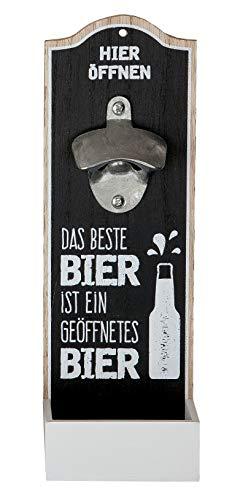 GILDE Wand-Flaschenöffner Metallöffner Kronkorkensammler, Das beste Bier ist ein geöffnetes Bier, Höhe 30 cm, Schwarz/weiß, Holz