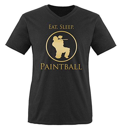 Comedy Shirts - EAT. Sleep. Paintball - Herren V-Neck T-Shirt - Schwarz/Gold Gr. XL
