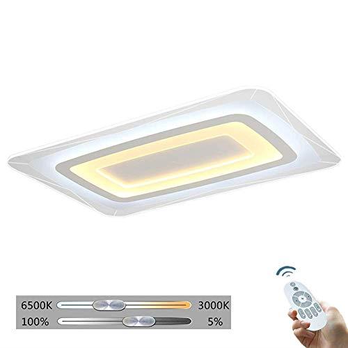 ZXM Lámpara De Techo LED Rectangular con Control Remoto, Espacio Regulable, Acrílico...