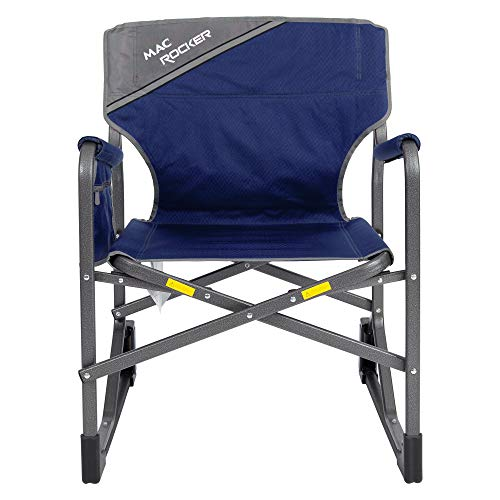 Mac Sports MacRocker Outdoor Foldable Rocking Chair | Portable, Collapsible, Springless Rockers with Rust-Free Anti-Tip Guards for Camping Fishing Backyard | 225 lb Weight Capacity | Blue