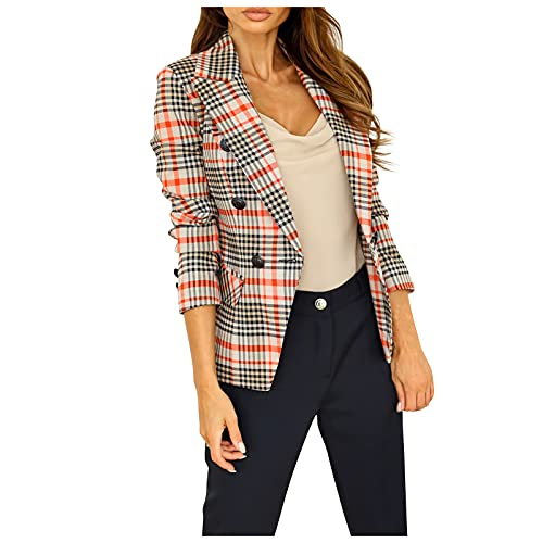 Trendy Blazer Cropped Jackets for Women Plaid Print Double-breasted Pocket Long Sleeve Tops Suit Formal Business Work Office Open Front Cardigans Coat(Orange,Large)