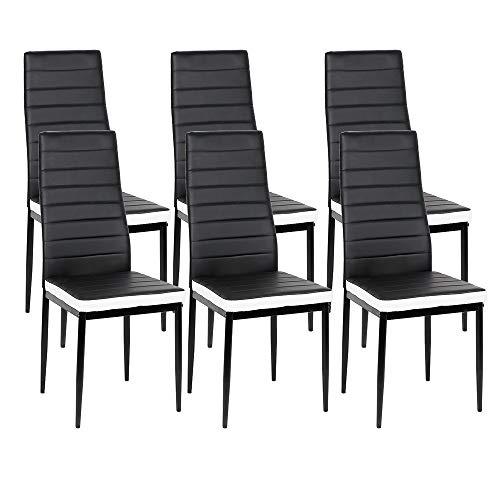 Lot de 6 Chaises de Salle à Manger Style Contemporain pour Notre Salle à Manger, Cuisine, Salle de Réunion (Noir Blanc,6)