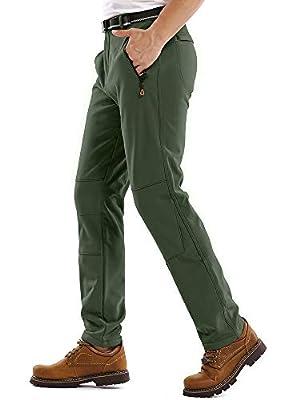 Jessie Kidden Hiking Pants Mens,Waterproof Fleece Ski Snow Fish Insulated Soft Shell Outdoor Winter Pants #801M-Green,34