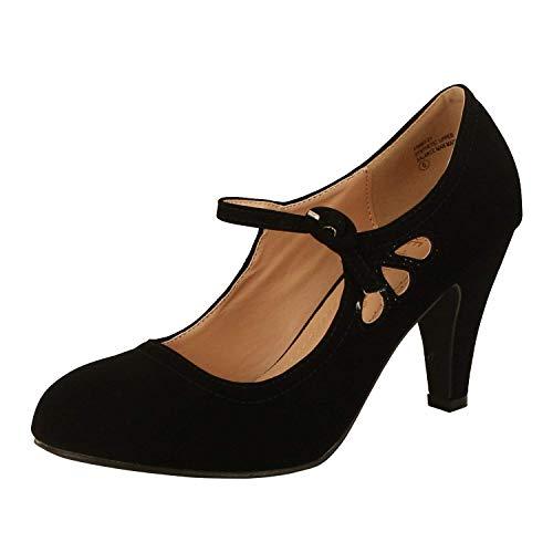 Chase & Chloe Kimmy-21 Women's Round Toe Pierced Mid Heel Mary Jane Style Dress Pumps (7 B(M) US, Black Nubuck)