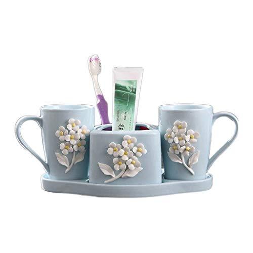 Dosificador Jabón líquido 4 piezas de baño de cerámica Juego de accesorios de baño Suministros Emulsión dispensador de jabón Set, Dispenser, cepillos de dientes, vaso, Jabonera Dispensador de jabón re